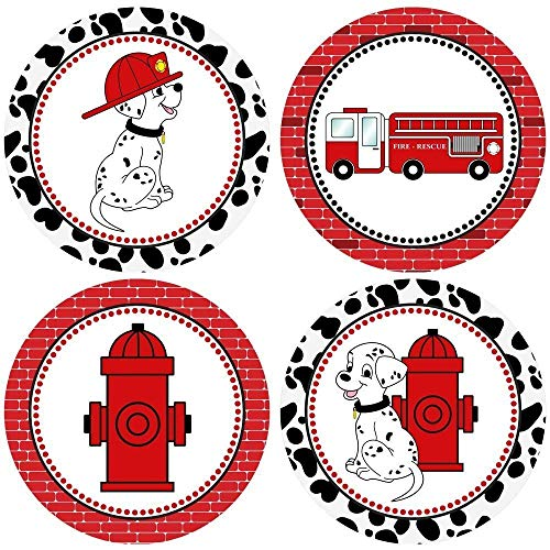 (Firefighter Sticker Labels - Fire Truck Dalmatian Dog Kids Boy Girl Party Favor Labels - Set of 50)