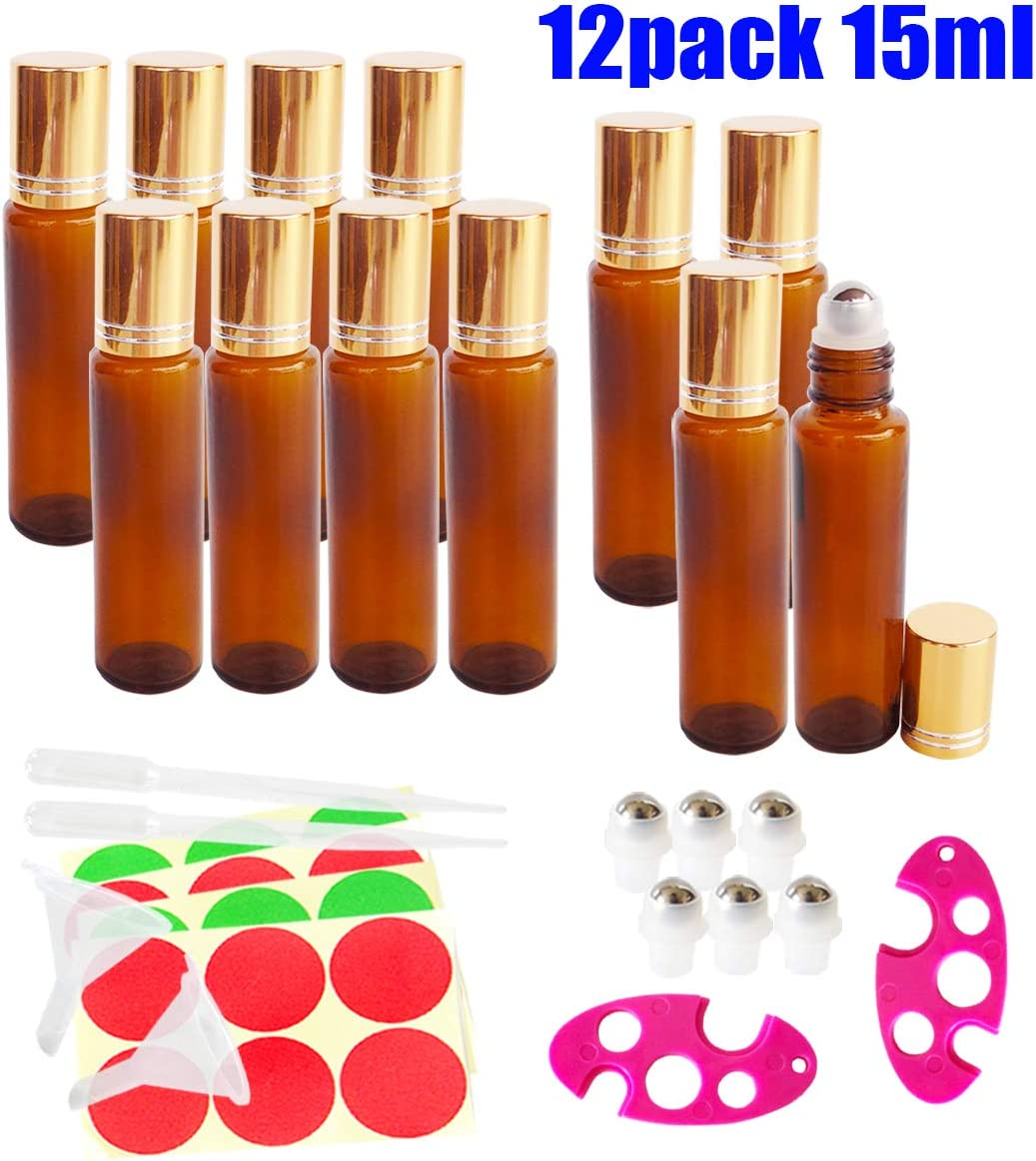 12x 15ml Empty Amber Glass Roll-on Bottles, Sample Refillable Cosmetic Container for Essential Oil Perfume, Extra 3ml Dropper, Mini Funnel, Bottle Opener, 6 Roller Balls, 24 Pieces Labels