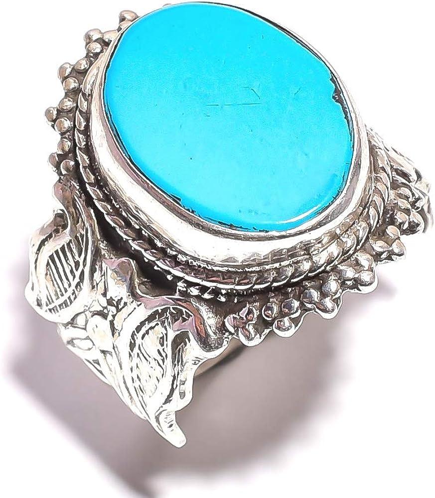 Mughal Gems & Jewelle - Anillo de Plata de Ley 925 con Piedras Preciosas Naturales de Turquesa, para Mujeres y niñas (Talla 10 U.S)