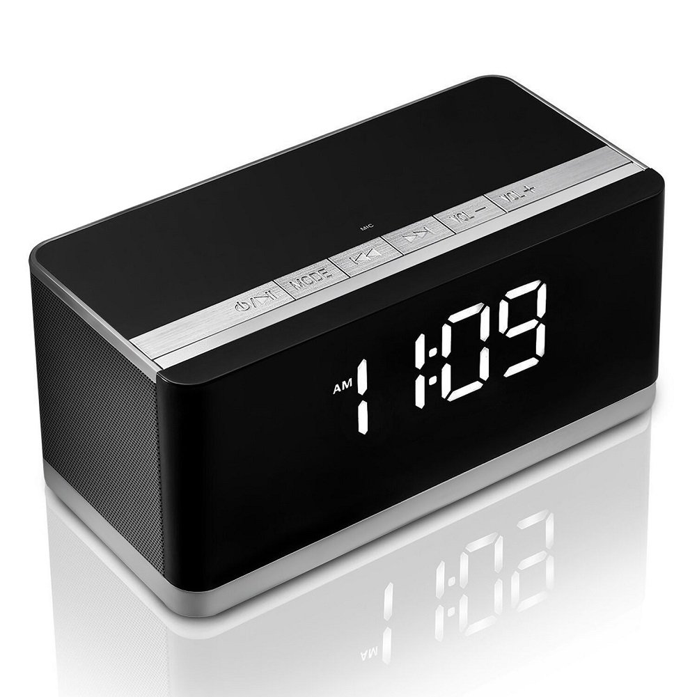 Bluetooth Speaker with Alarm Clock, XPLUS Portable Wireless Speaker with Deep Bass, Louder Volume 10W+, Hands-Free, FM Radio, USB HOST, Clock Radio, TF Card Slot, Perfect Speaker for Outdoor/Indoor(Black)
