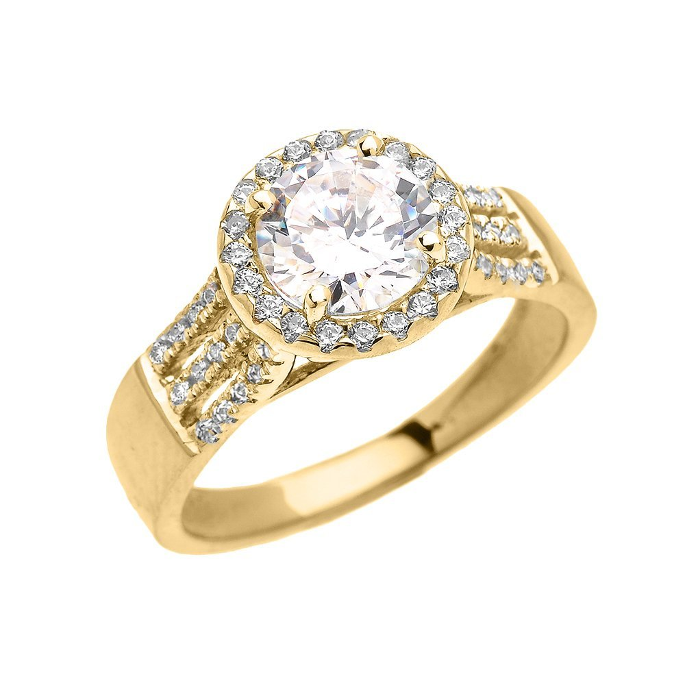14k Yellow Gold 3 Carat Round Micro Pave Halo Modern Engagement Ring (Size 6)