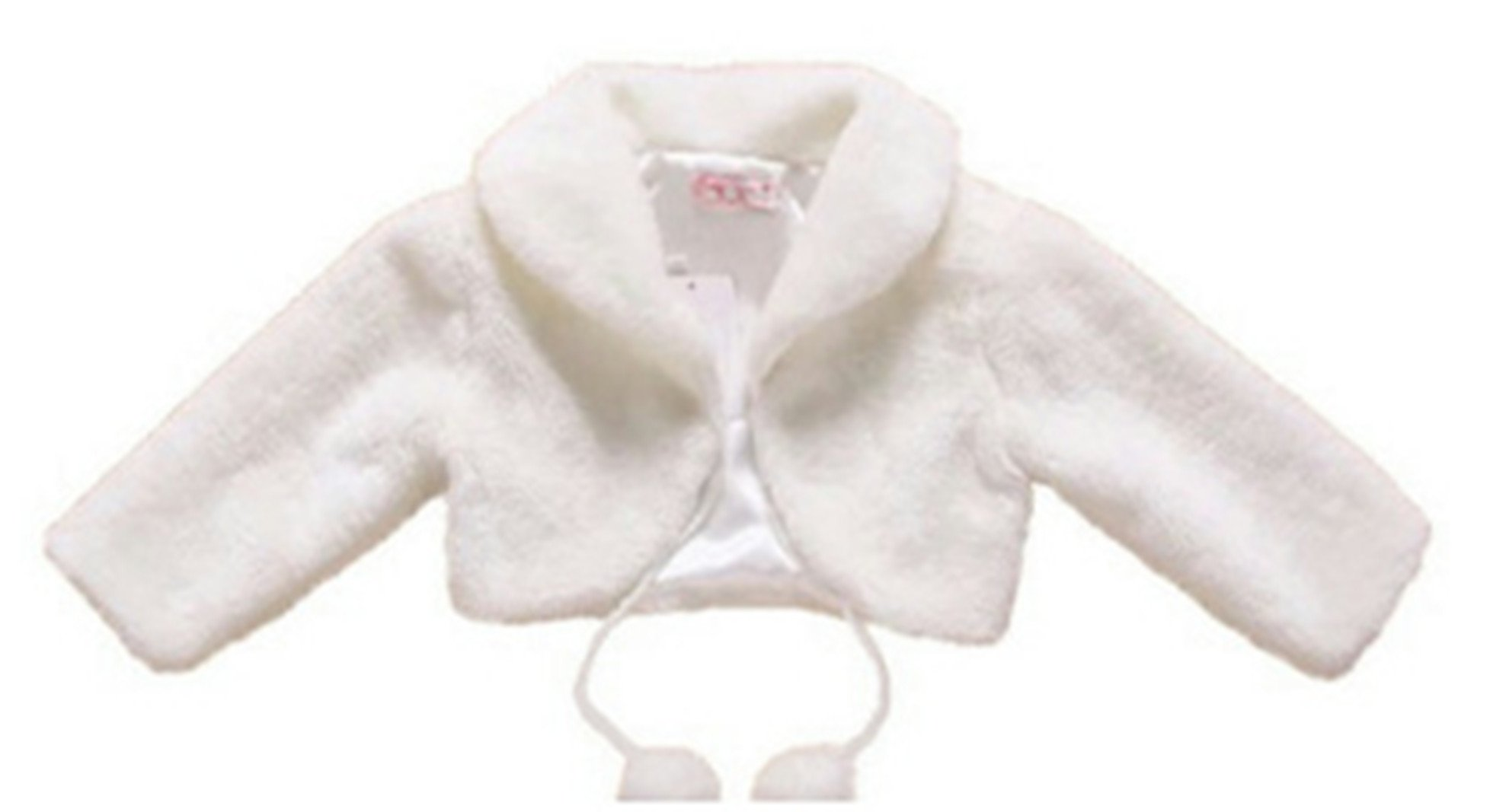 H.X Little Girl's Long Sleeve Faux Fur Jacket Coat Wedding Bridesmaid Birthday Party Capes 2 to 10 (6 years, White)