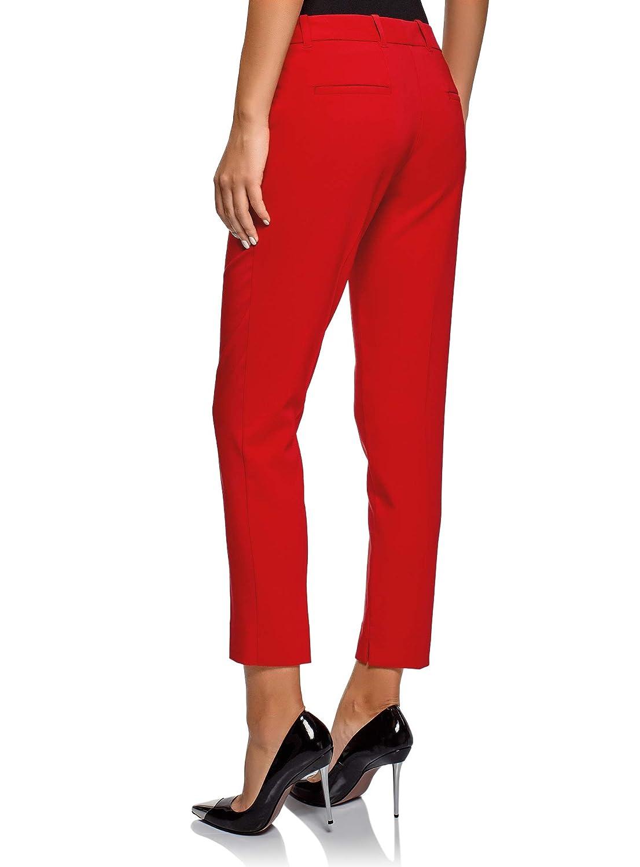 oodji Collection Donna Pantaloni Basic con Pieghe