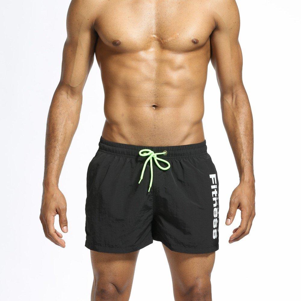 Kstare Men's Shorts Swim Trunks Quick Dry Beach Surfing Running Swimming Watershort Pants Beachwear Boardshort Black