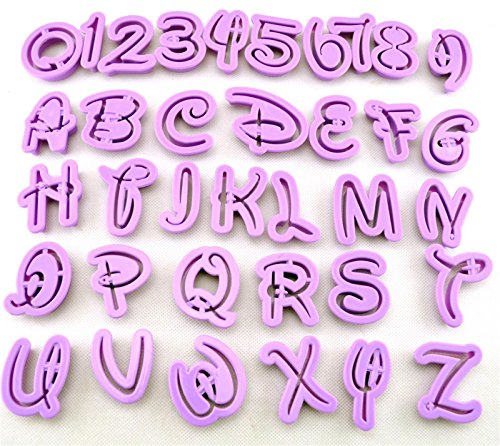 HomeyHouse® Set of 36pcs DIY Letter Number Cake Mould Fondant Sugarcraft Cookie Plunger Cutter Mold Decorating Tools (Alphabet Cutters Disney Cookie)