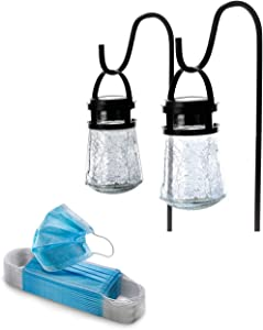 Home Zone Glass Solar Pathway Light 2-Pack and 50-Pack 3-Ply Face Mask Bundle