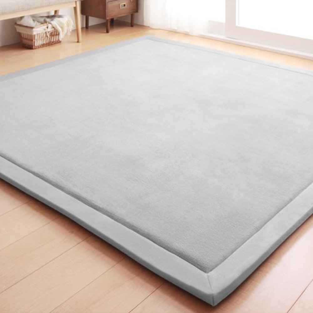 Adyonline Environmental Anti-Slip Home Decoration Bedroom Baby Crawling Mats,Living Room Yoga Mats,Carpeted Floor Mats,Waterproof,Easy-to-Clean,Hypoallergenic,Non-Toxic Matsx79inch,Silver Grey