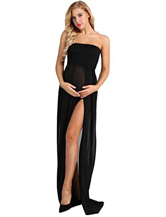 1b0cf56ea52 TiaoBug Women Maternity Strapless Soft Chiffon Gown Split Front Maxi Pregnancy  Photography Dress Black Small
