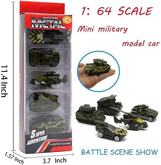 Ej/ército Hautton 6 Transporte de Juguete Fundidos Mini Modelo Aleaci/ón Vehicular Camioneta Cami/ón Tanque Helic/óptero Militar para Ni/ños Chicos