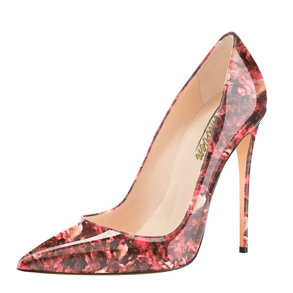 Modemoven Women's Pointy Toe High Heels Slip On Stilettos Large Size Wedding Party Evening Pumps Shoes B0719JRRPR 6 B(M) US|Red Flower