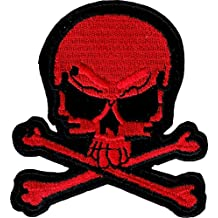 """Red & Black Skull & Crossbones - 2 3/4"""" x 3"""" - Embroidered Iron On or Sew On Patch"""