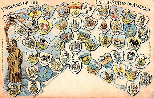 - United States Of America Emblem States Crest Antique Postcard K104442