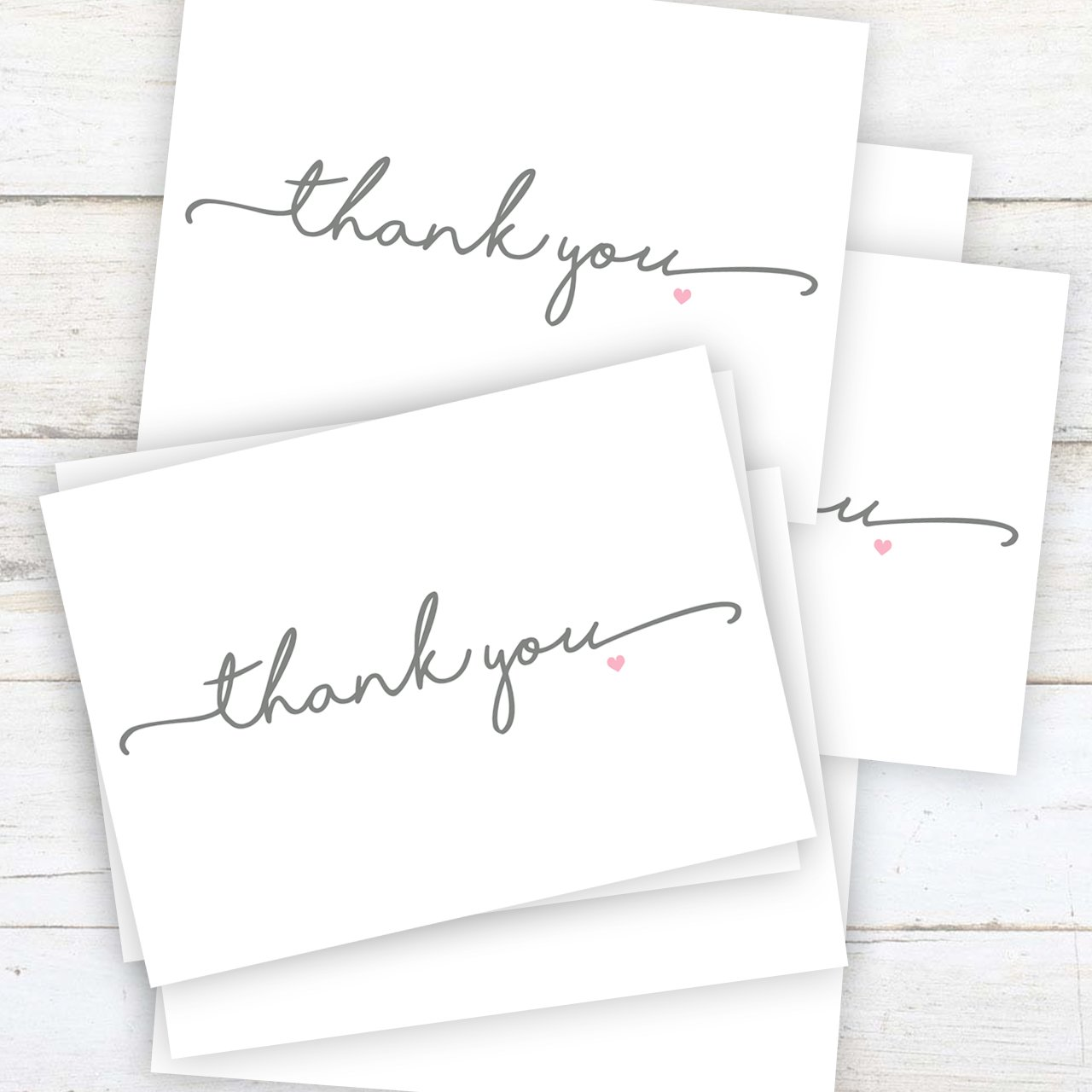 Set of 36 cards blank inside with white envelopes Thanks from the Heart Thank You Note Card Pack