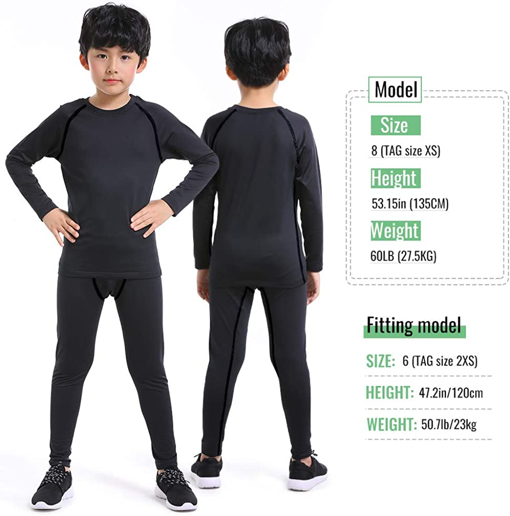 TERODACO Kids Long Sleeve Compression 2 Pcs Set Thermal Base Layer Suits Unisex