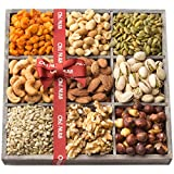 Holiday Nuts Gift Basket, 9 Variety Mixed Nut Assortment Wood Tray Baskets, Gourmet Christmas Freshly Roasted Healthy Food Care Package for Corporate, Mothers, Fathers Day or Thanksgiving - Oh! Nuts