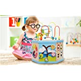 Holzsammlung® Creative Classic Wooden 7 in 1 Bead Maze Activity Cube Play Centre- Perfect Christmas Gift for Your Child