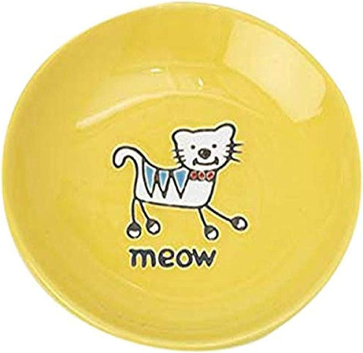 PetRageous 11019 Silly Kitty Dishwasher and Microwave Stoneware Cat Saucer 5-Inch Diameter 2.5-Ounce Capacity for Wet or Dry Cat Food Great For All Cats of All Sizes, Yellow