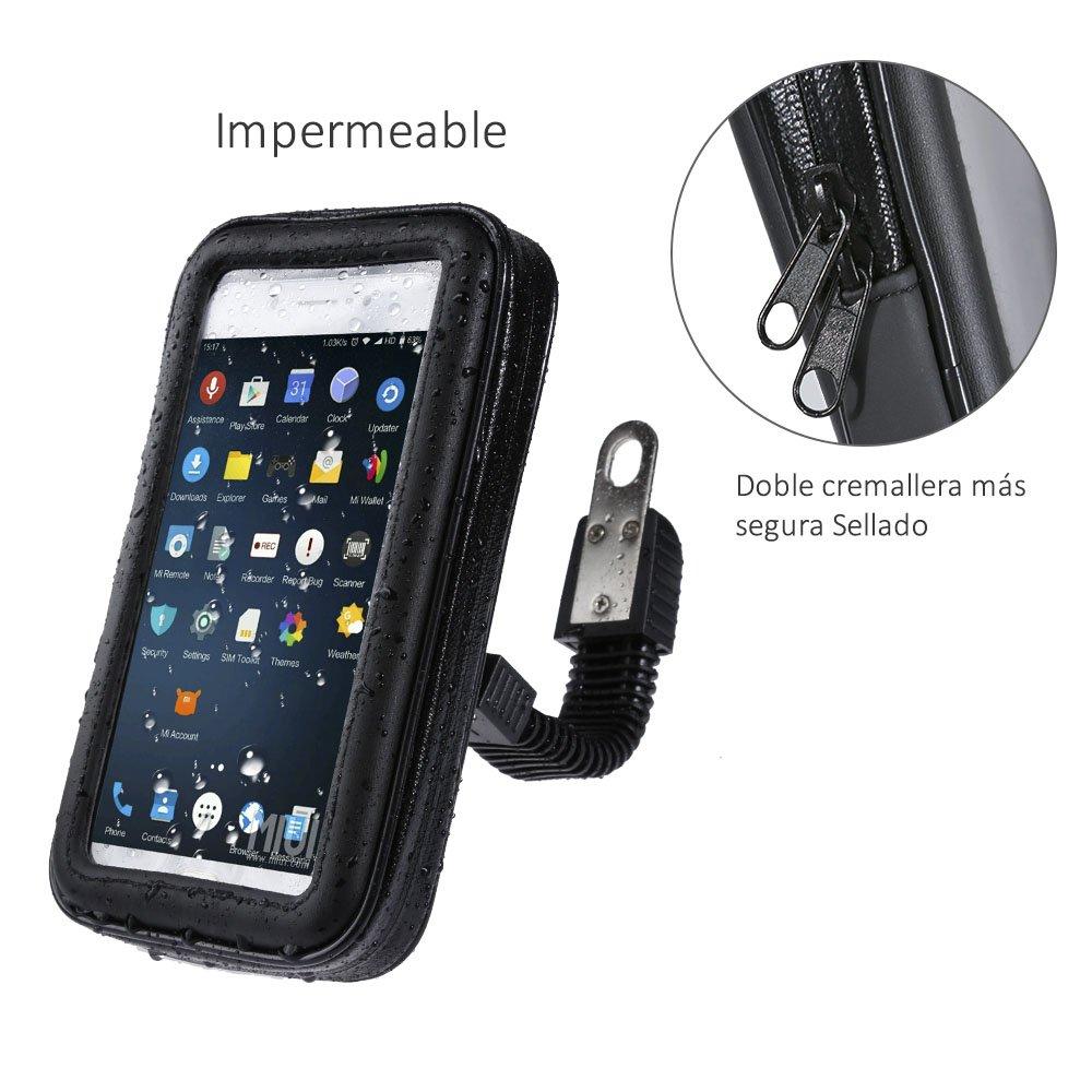 Housse support de t/él/éphone portable imperm/éable pour r/étroviseur de moto et de scooter longueur maximale: 9/cm, hauteur: 17/cm Zacro grande taille
