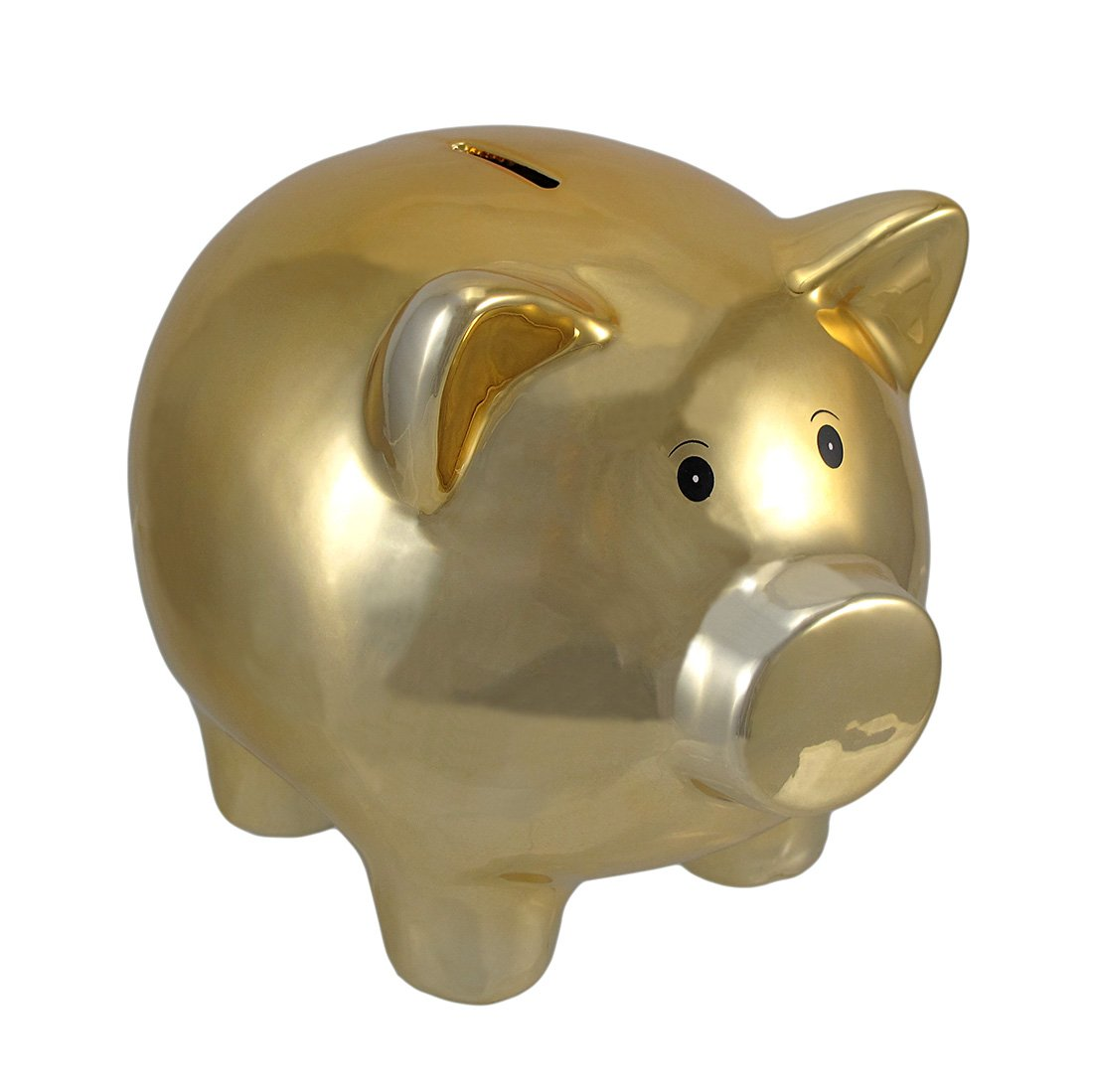 Things2Die4 Metallic Gold Plated Ceramic Piggy Bank 8 In.