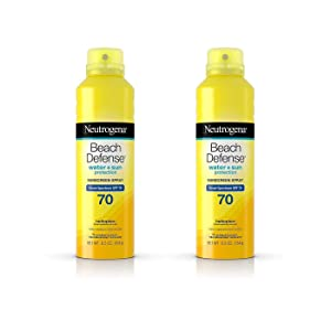 Neutrogena Beach Defense Body Spray Sunscreen with Broad Spectrum SPF 70, Water-Resistant and Oil-Free Sun Protection, 6.5 oz (Pack of 2)