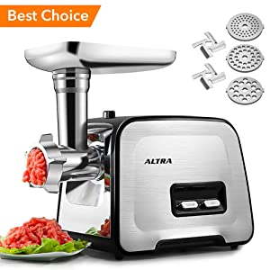 Electric Meat Grinder, ALTRA Stainless Steel Meat Mincer & Sausage Stuffer,?2000W Max??Concealed Storage Box? Sausage & Kubbe Kit Included, 3 Grinding Plates, 2 Blades, Home Kitchen & Commercial Use