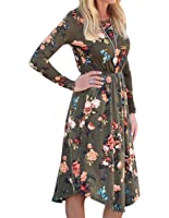 OLYR Women's Long Sleeve Floral Printed Swing Tunic Midi Dresses Bohemian Casual Shirt Dress with Pockets