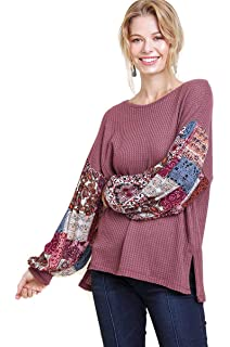 7fbe5377f Umgee Women s Waffle Knit Top with Floral Print Puff Sleeves at ...