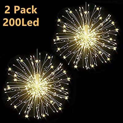 Haliluya 2Pack 200 LED Copper Wire Firework Lights, Battery Operated Starburst Light with Remote, 8 Modes String Fairy Lights Waterproof, Decorative Hanging Lights for Christmas, Home, Indoor Outdoor : Garden & Outdoor