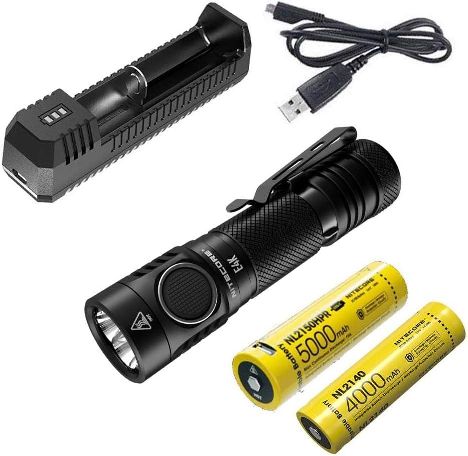 NITECORE E4K  Flashlight 4400 Lumens w extra NL2140 21700 /& UMS2 charger Combo