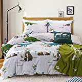 MeMoreCool Home Textile Dinosaur Park 100% Cotton Fashion Boys and Girls Bedding Sets Cartoon Dinosaurs and Elephants Duvet Cover Kids Bed Sets
