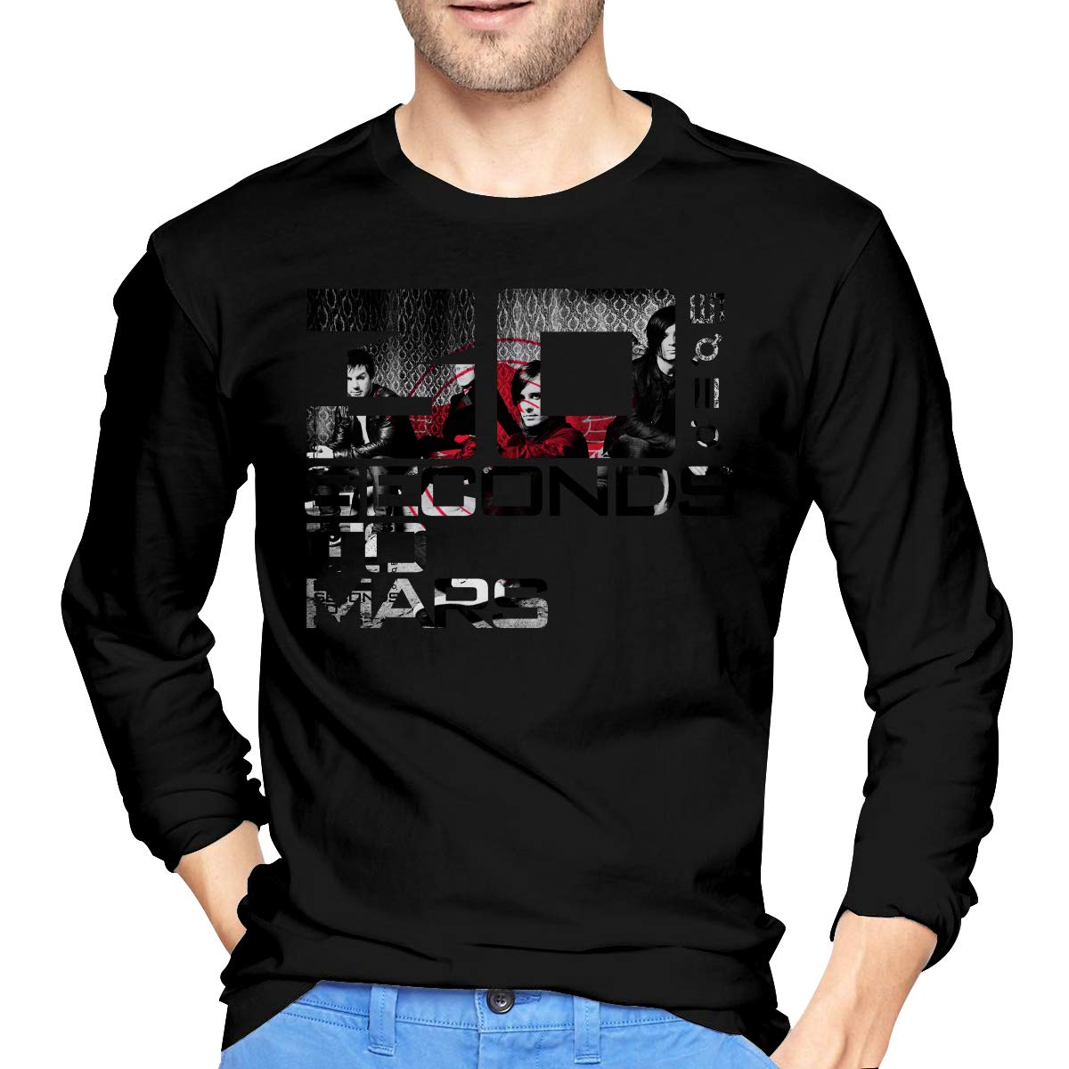 JeremiahR Mens 30 Seconds to Mars Long Sleeve T-Shirts Black L