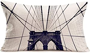 "Doitely Urbanism Throw Pillow Covers Home Cushion Cover Vintage Brooklyn Bridge New York City USA Artwork Decorative Pillow Case Cotton Linen 12"" X 20"" (AFG24)"