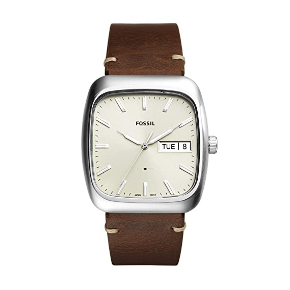 leather wrist dial strap watch brown mens product white s quartz men watches movement