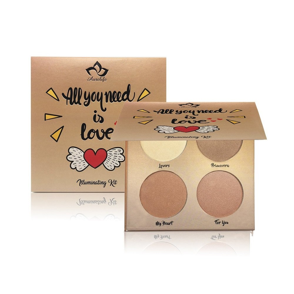 Kaidifangte 4 Color Illuminator Love Light Highlighter & Bronzer Shimmer Matte Face Palette Kit