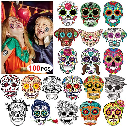 Day of the Dead Sugar Skull Tattoos(100Counts),Konsait Halloween Temporary Face Tattoos Sugar Skull Puppy Black Skeleton Web Red Roses Tattoo for kids Boys Girls Mexican Halloween Party Favor -