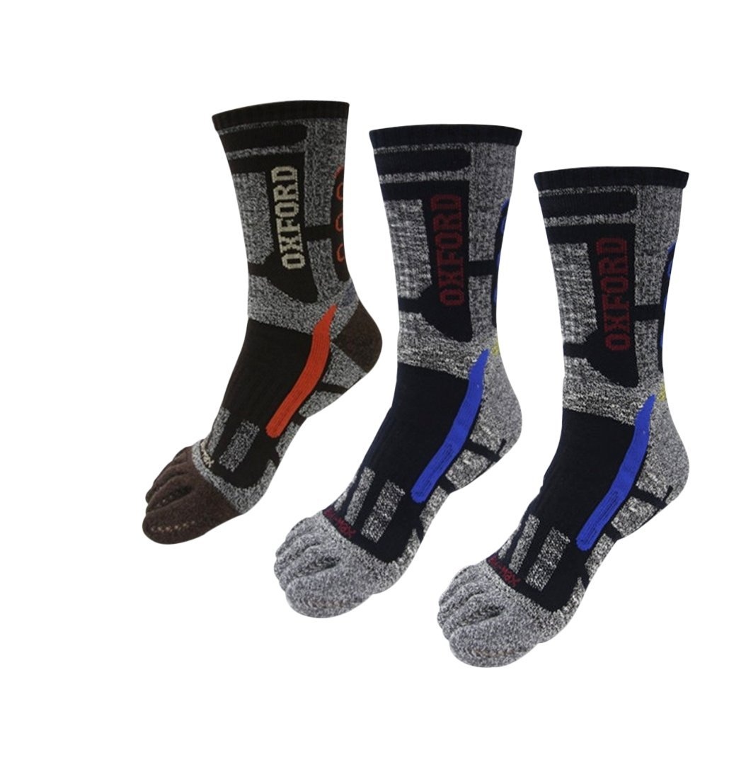 Men 3 Pair Toe Socks Five Finger Socks Cushion Crew Socks Athletic Hiking Travel Running Socks (Men) With Breathable holes by Sam' Drawer
