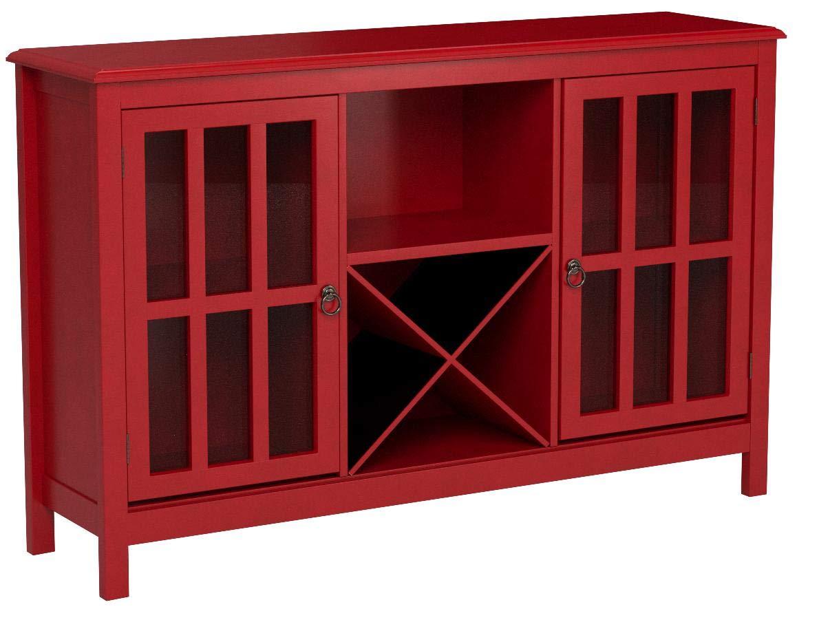 Simple Living Portland Red Wood/Glass Wine Buffet by Portland