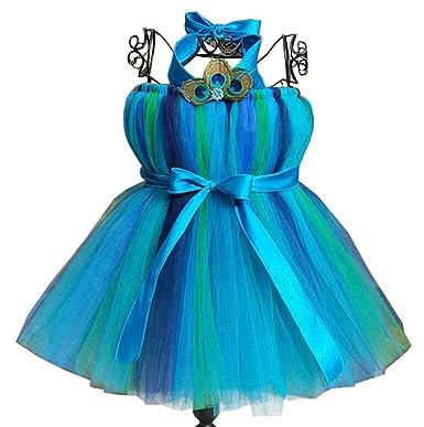 b905410591d0 Girl's Flower Girl Dress Peacock Tulle Kids Party Ball Tutu - Black ...