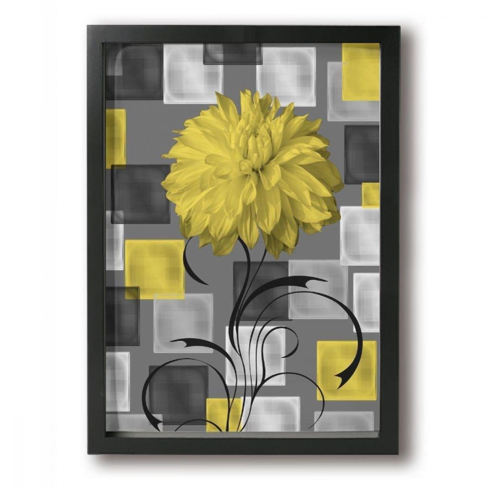 Amazon.com: Ale-art Vintage Style Geometric Flowers Yellow Grey ...