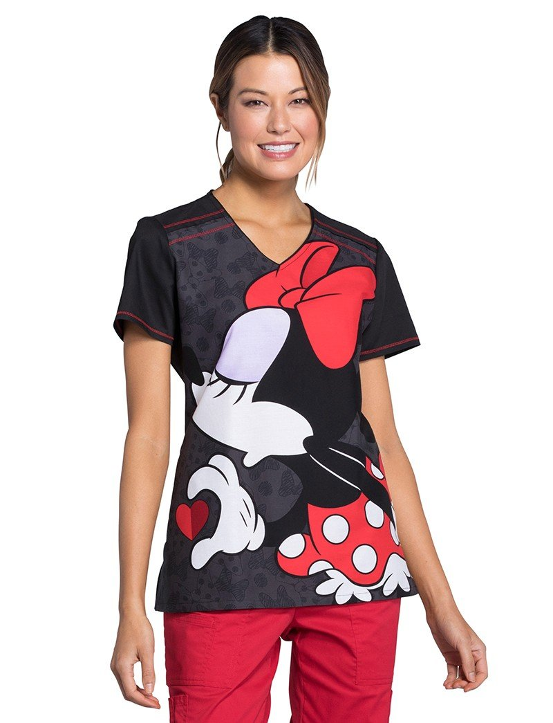 Cherokee Tooniforms by Women's V-Neck Knit Pane Mickey Mouse Print Scrub Top XS