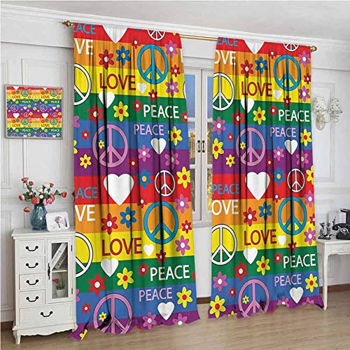 GUUVOR Inspirational Hippie Blackout Curtain Set Heart Peace Sign Flower Power Political Rainbow Colors Festival Image Kindergarten Shading Insulation W108 x L84 Inch Multicolor (Best Political Consulting Firms)