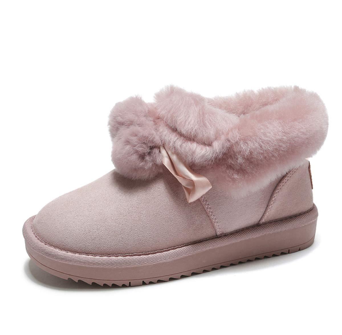 DANDANJIE Damenstiefel mit flachem Absatz Nette Pompom-Schnee-Stiefel Winter Warm halten Rutschfeste Stiefeletten