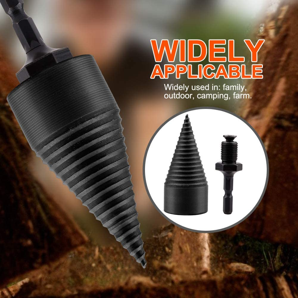 happyday04 Splitting Wood Cone Drill Bit Wood Splitter Screw Cones Log Wood Splitter Wood Breaker Tool for Household Use