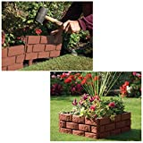 ASAB Lawn Border Edging   Plastic Garden Border for Straight and Curved Shapes   Stone-Effect Brick Effect Available or Black Fence   Flexible Interlocking Path Edge (Brick)