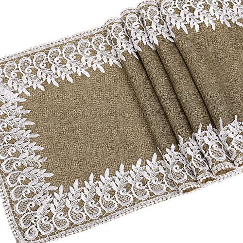 Ling's moment 14 x 72 Inch Jute Burlap Linen Table Runner White Lace Trim for Rustic Country Woodland Wedding Party Bridal Shower Baby Shower Decorations Supplies