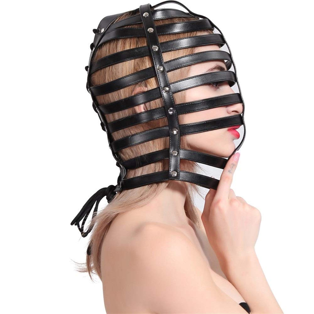 MDYHJDHYQ Sex Toys Leather Fencing Headgear Alternative Toys Performing Mask Mask Eye Mask Cosplay Performance Props Sex Toys (Color : Black) by MDYHJDHYQ