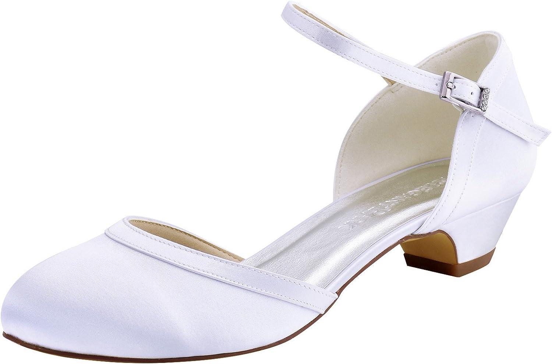Elegantpark HC1621 Wedding Shoes for Bride Low Heel Women Bridal Shoes Closed Toe Block Heels Buckle Satin Wedding Bridal Court Shoes