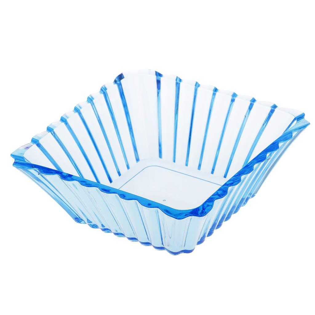 Prettyia Deluxe Elegance Fruit/Nut/Dessert Bowls Dish Bucket Clear Purple Blue Orange Square Design - Blue