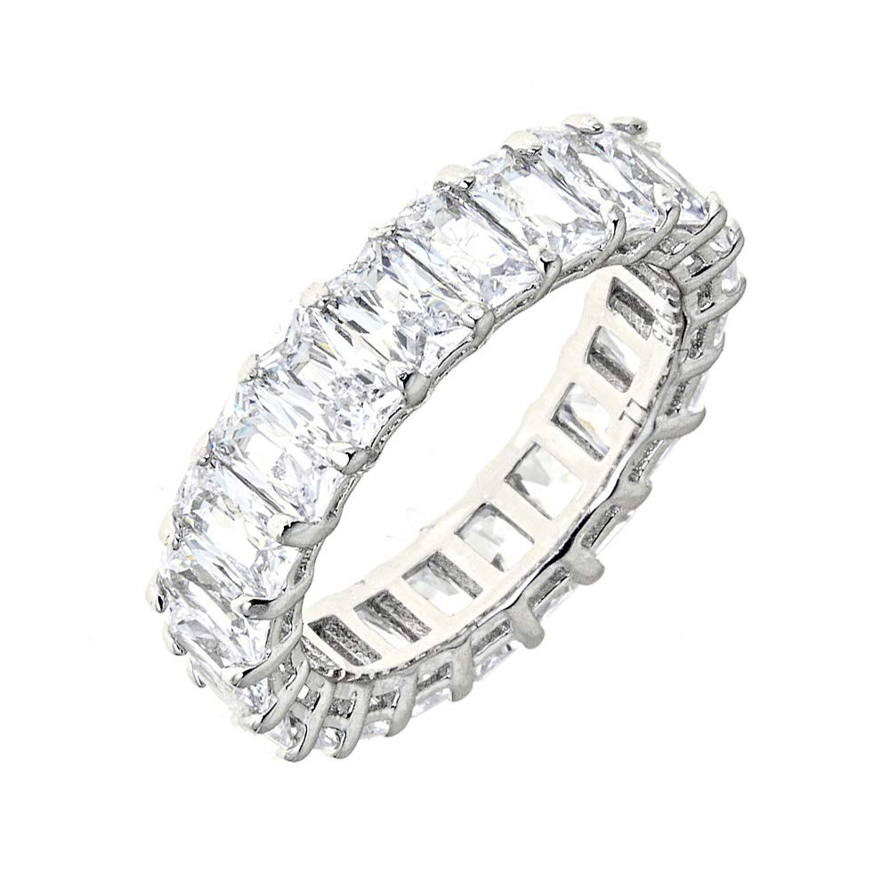 Maya J Eternity Ring - Emerald-Cut, with Artisan Fashioned Gemstones