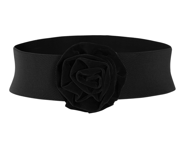 MUXXN Summer Classice Adjustable Elastic Belt with Big Floral Buckle (Black L)